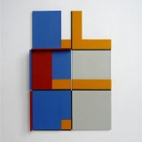 '(2,3,5) x 4, Cluster 1', 25 x 16.5 x 2cm, Acrylic, card and plastic on conservation board, October, 2013. Photography: Self.