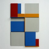 '(2,3,5) x 4, Cluster 3', 25 x 16.5 x 2cm, Acrylic, card and plastic on conservation board, October, 2013. Photography: Self.