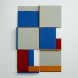 '(2,3,5) x 4, Cluster 8', 25 x 16.5 x 2cm, Acrylic, card and plastic on conservation board, October, 2013. Photography: Self.