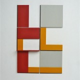 '(2,3,5) x 4, Cluster 2', 25 x 16.5 x 1.7cm, Acrylic, card and plastic on conservation board, October, 2013. Photography: Self.