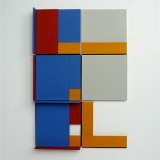 '(2,3,5) x 4, Cluster 6', 25 x 16.5 x 2cm, Acrylic, card and plastic on conservation board, October, 2013. Photography: Self.