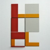 '(2,3,5) x 4, Cluster 9', 25 x 16.5 x 1.7cm, Acrylic, card and plastic on conservation board, October, 2013. Photography: Self.