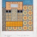 Study for 'Royal Doors', Acrylic, ink and watercolour on graph paper, 28 x 21cm (paper size), 15th November 2018. Photography: Michèle Brouet.