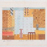 'Study for Pillars of Hercules', Acrylic and watercolour on graph paper, 25 x 27cm (paper size), January 2014. Photography: docQment.