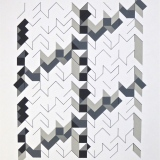 '(3,5,8) Subtractive x 4', Acrylic and ink on paper, 44 x 34cm, June 2012. Photography: Self.