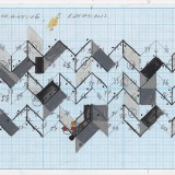 '(3,5,8) Subtractive, 5 rotations', Acrylic and ink on graph paper, 10.5 x 60 cm (paper size) 10th October 2010. Photography: Michèle Brouet.