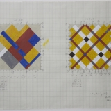 'Working drawing reliefs- Method 2', Acrylic and pencil on graph paper, 35.7 x 50.7cm (paper size), Late 1990. Photography: Michel Brouet.
