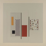 'Grey construction number 10', Acrylic, card and wood on board, 70 x 70 x 3cm, 1989. Photography: DocQment.