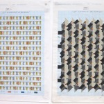 '(1,2,5) Subtractive, 48 Rotations', Number sequence and working drawing, Pencil, ink and acrylic on graph paper, 29.8 x 21.1cm (paper size, each sheet), August 2011. Photography: Self.