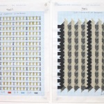 '(1,2,8) Subtractive, 30 Rotations', Number sequence and working drawing, Pencil, ink and acrylic on graph paper, 29.8 x 21.1cm (paper size, each sheet), November 2011. Photography: Self.