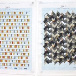 '(1,3,5) Subtractive, 32 Rotations', Number sequence and working drawing, Pencil, ink and acrylic on graph paper, 29.8 x 21.1cm (paper size, each sheet), February 2012. Photography: Self.
