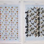 '(1,5,8) Subtractive, 12 Rotations', Number sequence and working drawing, Pencil, ink and acrylic on graph paper, 29.8 x 21.1cm (paper size, each sheet), March 2012. Photography: Self.