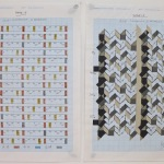 '(2,5,8) Subtractive, 6 Rotations', Number sequence and working drawing, Pencil, ink and acrylic on graph paper, 29.8 x 21.1cm (paper size, each sheet), May 2012. Photography: Self.