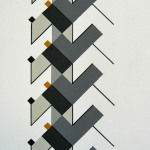 '(3,5,13) Subtractive, Cluster II', Acrylic and ink on paper, 24 x 8cm, 2011. Photography: Self.